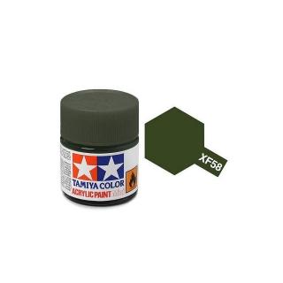 Tamiya Mini XF-58 Flat Olive Green Acrylic Paint 10ml Bottle - 81758