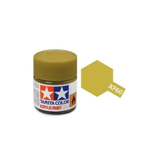 Tamiya Mini XF-60 Flat Dark Yellow Acrylic Paint 10ml Bottle - 81760