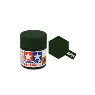 Tamiya Mini XF-61 Flat Dark Green Acrylic Paint 10ml Bottle - 81761