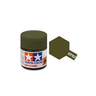 Tamiya Mini XF-62 Flat Olive Drab Acrylic Paint 10ml Bottle - 81762