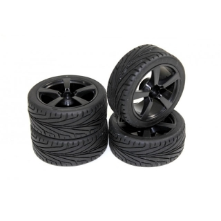 Absima 1/10 5 Spoke Wheel and Tyre Set On-Road 12mm Hex Black (Pack of 4 Wheels) - 2510006