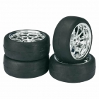 Absima 1/10 9 Spoke Wheel and Tyre Set On-Road LP Slick 12mm Hex Chrome (Pack of 4 Wheels) - 2510010