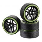 Absima 1/10 Drift Wheel and Tyre Set 10-Spoke Profile B Yellow (Set of 4) - 2510050