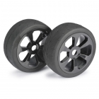 Absima 1/8 Street 6 Spoke 17mm Black Wheel and Tyre Set (Pack of 2 Wheels) - 2530008