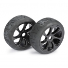 Absima 1/8 Street 7 Spoke 17mm Black Wheel and Tyre Set (Pack of 2 Wheels) - 2530010