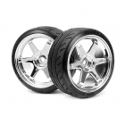 HPI Super Drift Tyre (A Type) Mounted On TE37 Chrome Wheel (Pack of 2 Wheels) - 4704