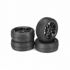 Absima 1/10 6 Spoke Wheel and Tyre Set On-Road Profile 12mm Hex Black (Pack of 4 Wheels) - ABS2510003