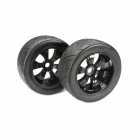 Absima 1/8 Scale Truggy Pre-Glued Black 17mm Street Wheel and Tyre (Set of 2 Wheels) - ABS2530006