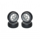 Kyosho Multi Spike Pre-Glued 1/8 Tyre on 10 Spoke Gun-Metal Wheels 17mm Hex (Set of 4) - BSW40