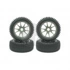 Kyosho Multi Spike Pre-Glued 1/8 Tyre on 10 Spoke Gun-Metal Wheels 17mm Hex (Set of 4) - BSW40