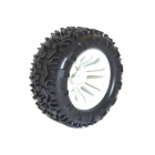 FTX Carnage 1/10 Mounted Wheels and Tyres 12mm Hex (Pack of 2 White) - FTX6310W
