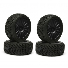 Kyosho Rally Tyre fitted on Black 15 Spoke Wheels (Set of 4) - TRTH121BK