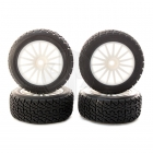 Kyosho Rally Tyre fitted on White 15 Spoke Wheels (Set of 4) - TRTH121W