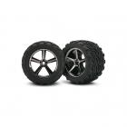 Traxxas 1/16 E-Revo Pre-Glued Gemini Black Chrome Wheels and Tyres (Set of 2) - TRX7174A