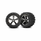 Traxxas 1/16 E-Revo Pre-Glued Gemini Black Chrome Wheels and Tyres (Set of 2) - TRX7174A