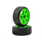 Traxxas 1/16 Volk Racing TE37 Green Wheel with Slick Tyre (Set of 2 Wheels and Tyres) - TRX7375A